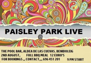 Paisley Park @ The Pool Bar, Aldea de las Cuevas, Benidoleig