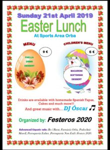 Easter lunch at Orba Sports Ground @ Orba Sports Ground