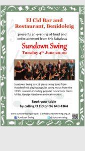 Sundown Swing Band @ El Cid Bar & Restaurant, Benidoleig