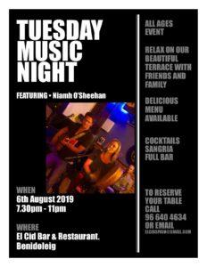 Niamh O'Sheehan @ El Cid Bar & Restaurant, Benidoleig