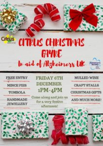 Christmas Fayre in aid of Alzheimers UK @ Citrus Bistro Bar, Orba