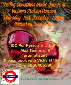 Christmas Music Quiz in aid of Help of DAMA @ Bar Victoria Station, Parcent
