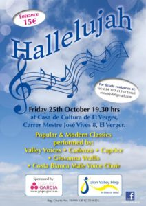 Hallelujah Choir Concert in aid of Jalon Valley Help @ Casa de Cultura, El Verger