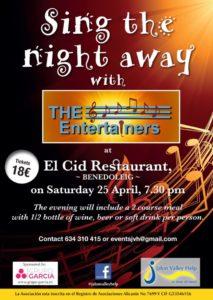 The Entertainers at El Cid @ El Cid Bar & Restaurant, Benidoleig
