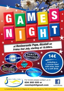 Games Night in aid of JVH @ Restaurant Pepe, Alcalali